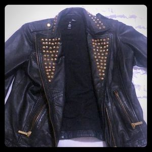 Aqua black leather jacket with gold studs